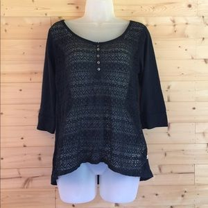 Hollister Navy lace blouse medium